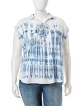 Jessica Simpson Plus-size Cress Tie Dye Denim Shirt