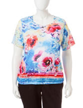 Alfred Dunner Plus-size Watercolor Floral Print Top
