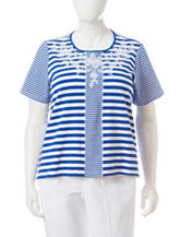 Alfred Dunner Plus-size Striped Embroidered Knit Top