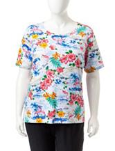 Rebecca Malone Plus-size Destination Print Knit Top