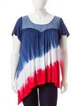Energe Plus-size Tie Dye Print Asymmetrical Knit Top