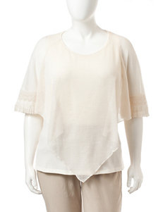Energe Plus-size Fringe Trim Woven Overlay Top