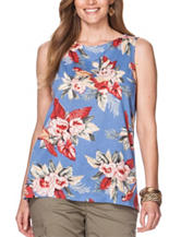 Chaps Plus-size Tropical Print Hi-Lo Woven Top
