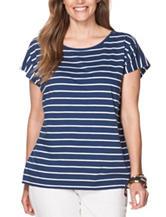 Chaps Plus-size Blue & White Striped Print Jersey Knit Top