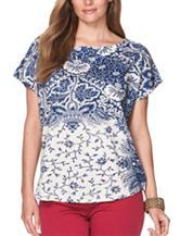 Chaps Plus-size Bandana Paisley Print Jersey Knit Top