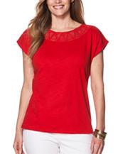 Chaps Plus-size Red Macrame Knit Top