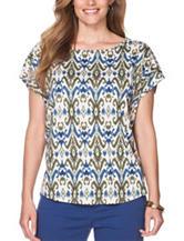 Chaps Plus-size Ikat Print Jersey Knit Top