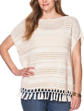Chaps Plus-size Crochet Fringe Top