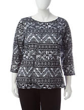 Ruby Rd. Plus-size Tribal Print Burnout Knit Top
