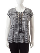 Ruby Rd. Plus-size Embellished Tribal Print Top
