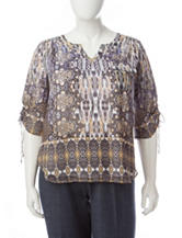 Energe Plus-size Mixed Print Woven Top