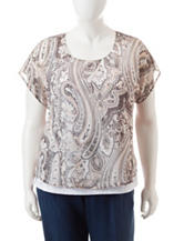 Energe Plus-size Paisley Print Layered-Look Top