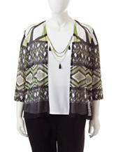 Alfred Dunner Plus-size Geo Print Layered-Look Top