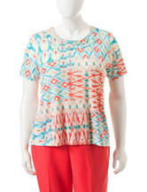 Alfred Dunner Plus-size Ikat Print Knit Top
