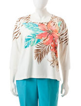 Alfred Dunner Plus-size Tropical Print Knit Top
