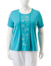 Alfred Dunner Plus-size Embroidered Knit Top