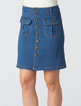 Democracy Plus-size Button Front Medium Wash Denim Skirt