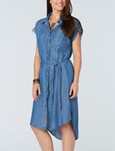 Democracy Plus-size Drawstring Chambray Dress