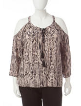 Jessica Simpson Plus-size Cold Shoulder Woven Top