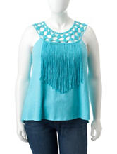 Jessica Simpson Plus-size Tae Fringe Trim Top