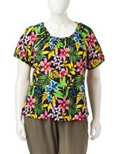 Rebecca Malone Plus-size Disco Tropical Print Top
