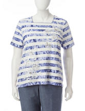 Alfred Dunner Plus-size Embroidered Striped Knit Top