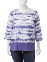 Alfred Dunner Plus-size Tie Dye Print Lace Accent Top