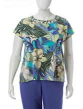 Alfred Dunner Plus-size Tropical Print Lattice Knit Top