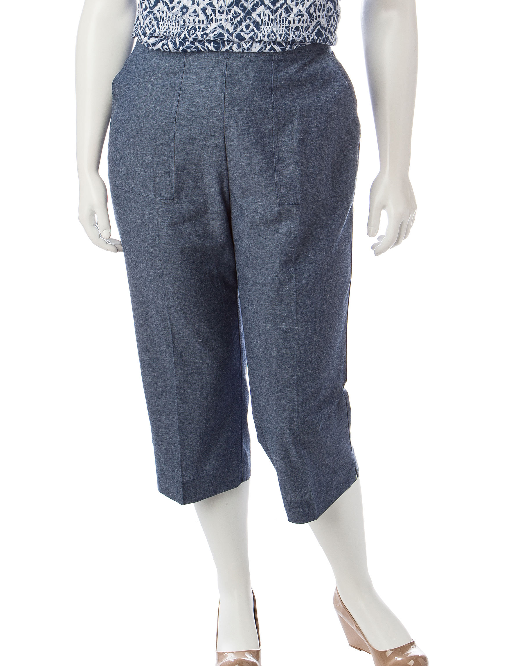 Alfred Dunner Blue Capris & Crops