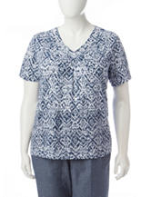 Alfred Dunner Plus-size Mixed Print Beaded Knit Top
