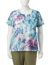 Alfred Dunner Plus-size Tropical Print Lace Top