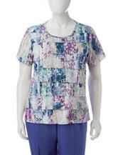 Alfred Dunner Plus-size Floral Print Tiered Top