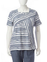 Alfred Dunner Plus-size Diagonal Striped Print Knit Top