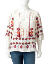 Figuero & Flower Plus-size Geometric Print Top