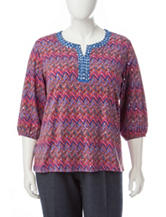Cathy Daniels Plus-size Chevron Print Embellished Top