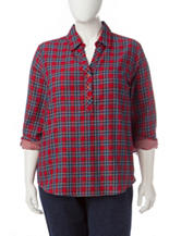 Cathy Daniels Plus-size Plaid Print Top