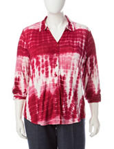 Cathy Daniels Plus-size Tie Dye Print Knit Top