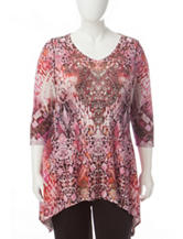 Energé Mixed Plus-size Print Sharkbite Knit Top