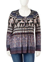 Energé Plus-size Mixed Print Peasant Top
