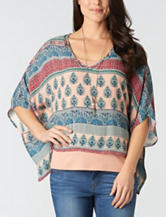 Democracy Plus-size Abstract Print Layered-Look Poncho Top