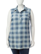 Hannah Plus-size Buffalo Plaid Print Chambray Top