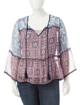 Jessica Simpson Plus-size Mixed Print Peasant Top