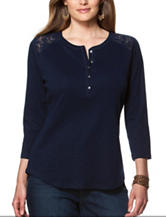 Chaps Plus-size Lace Knit Top