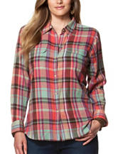 Chaps Plus-size Plaid Print Twill Blouse