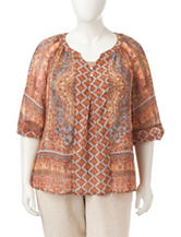 Figuero & Flower Plus-size Mixed Print Woven Top