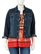 Hannah Plus-size Medium Wash Denim Jacket