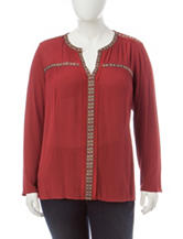 Signature Studio Plus-size Sarape Trimmed Top