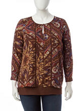 Signature Studio Plus-size Paisley Print Top