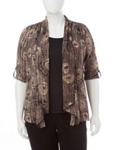 Rebecca Malone Plus-size Peacock Print Layered-Look Top