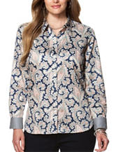 Chaps Plus-size No-Iron Paisley Print Top